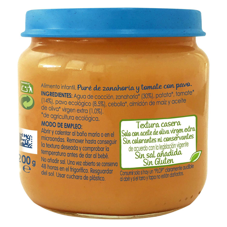 Tarrito de zanahoria y tomate con pavo desde 6 meses sin azúcar añadido ecológico Nestlé Naturnes sin gluten 200 g. -