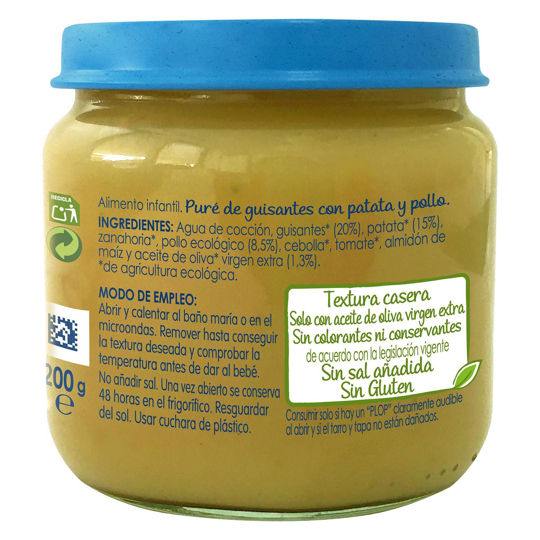 Tarrito de guisantes con patata y pollo desde 6 meses sin azúcar añadido ecológico Nestlé Naturnes sin gluten 200 g. -