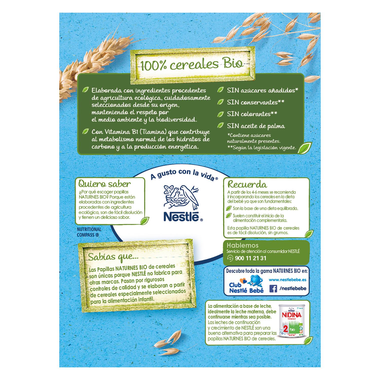 Papilla de cereales, trigo y avena sabor vainilla ecológica Nestlé Naturnes 240 g. -