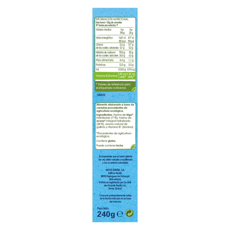 Papilla de cereales, trigo y avena sabor vainilla ecológica Nestlé Naturnes 240 g. - 2
