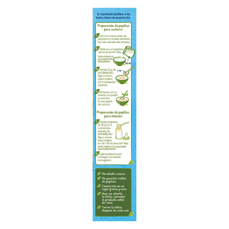 Papilla de cereales, trigo y avena sabor vainilla ecológica Nestlé Naturnes 240 g. - 3