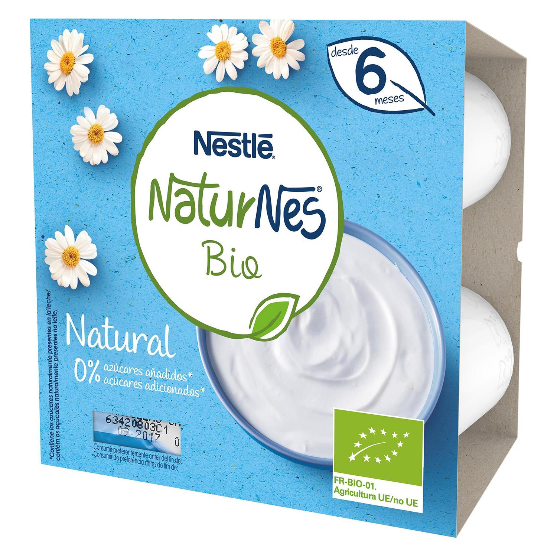Tarrinas de leche fermentada ecológicas Nestlé Naturnes pack de 4 unidades de 90 g.