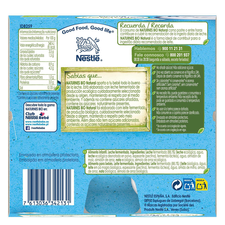 Postre lacteo natural desde 6 meses sin azúcar añadido ecológico Nestlé Naturnes pack de 4 unidades de 90 g. -