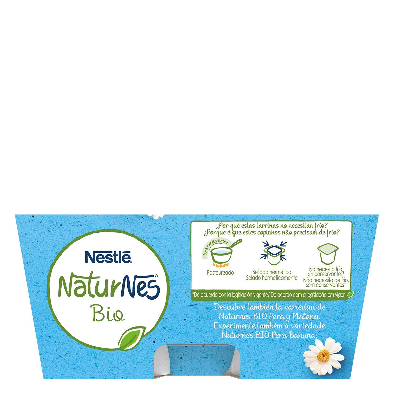 Postre lacteo natural desde 6 meses sin azúcar añadido ecológico Nestlé Naturnes pack de 4 unidades de 90 g. - 2