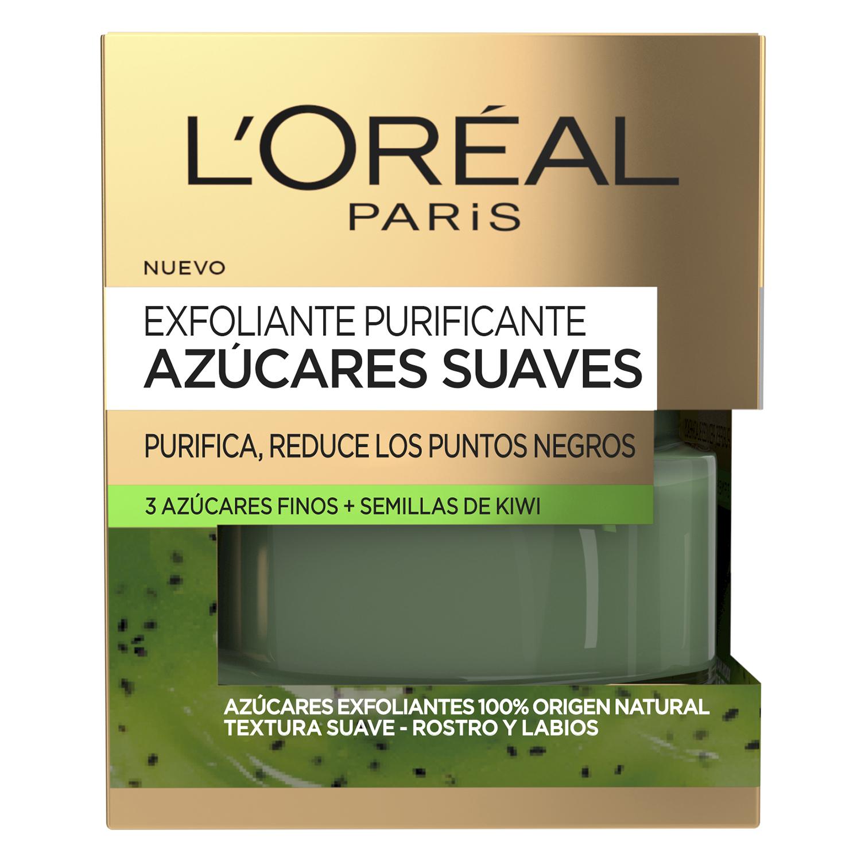 Exfoliante purificante azúcares suaves Purifica, reduce los puntos negros L'Oréal 50 ml.