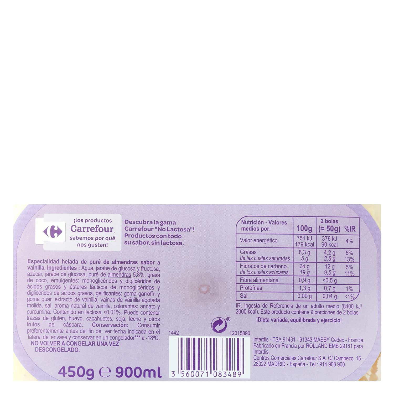 Helado de almendras y vainilla Carrefour No Lactosa 900 ml. -