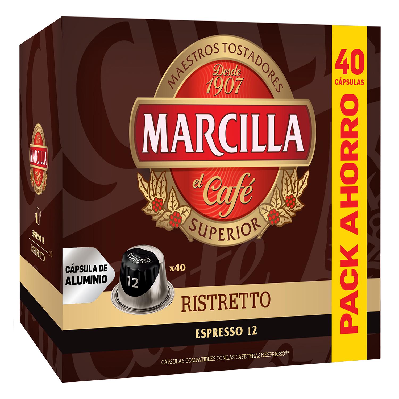 Café ristretto en cápsulas Marcilla compatible con Nespresso 40 unidades de 5,2 g.