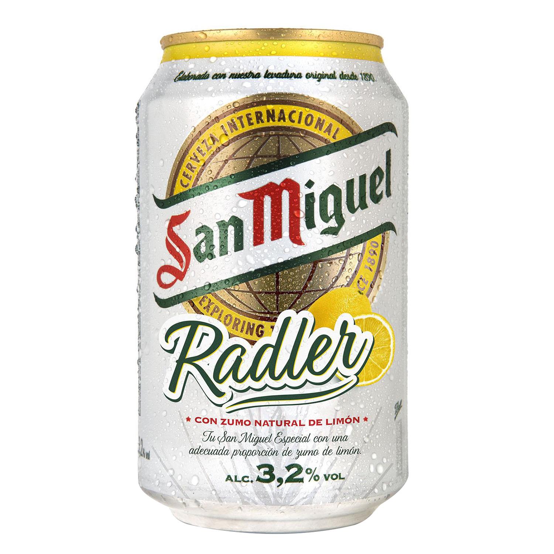 Cerveza San Miguel Radler con limón lata 33 cl.