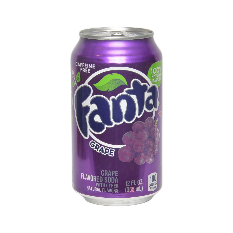 Refresco de uva Fanta con gas sin cafeína lata 35,5 cl.