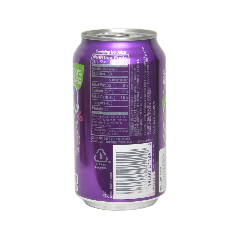 Refresco de uva Fanta con gas sin cafeína lata 35,5 cl. -