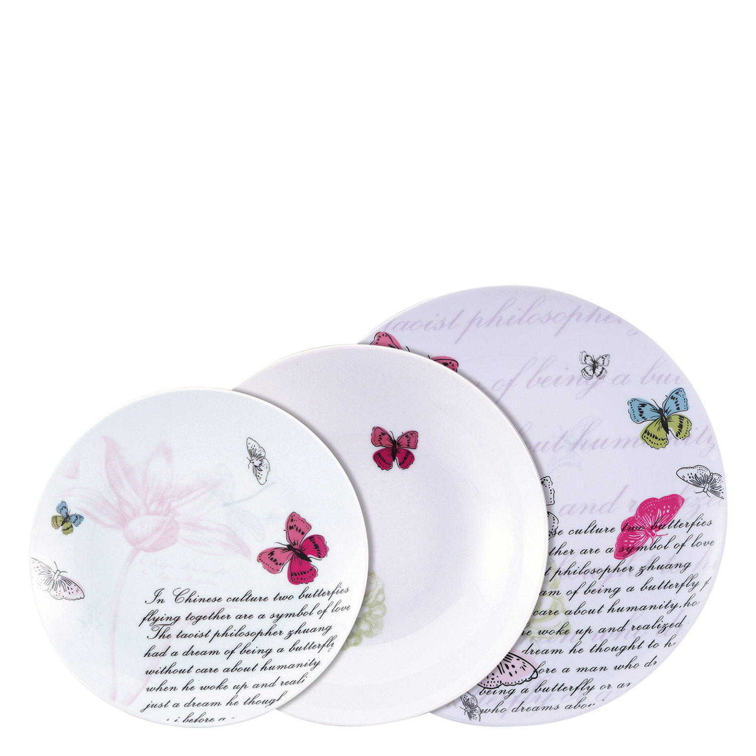 Vajilla de Porcelana Brunchfield Pink Butterfly 18 piezas Decorada -