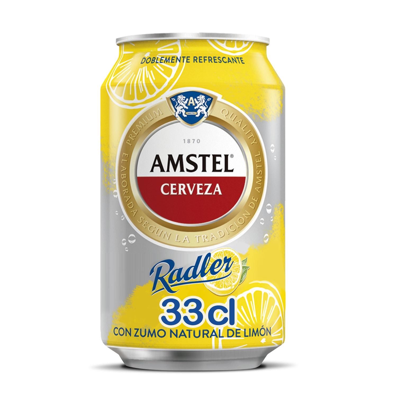 Cerveza Amstel Radler con zumo limón lata 33 cl.