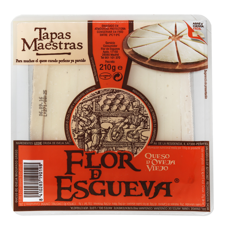 Queso puro de oveja viejo graso Flor de Esgueva tapas maestras ya cortado 210 g -