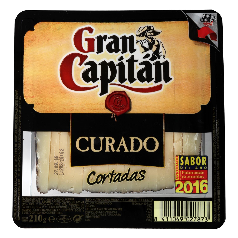 Queso curado mezcla ya cortado Gran Capitán cuña de 210 g - 2