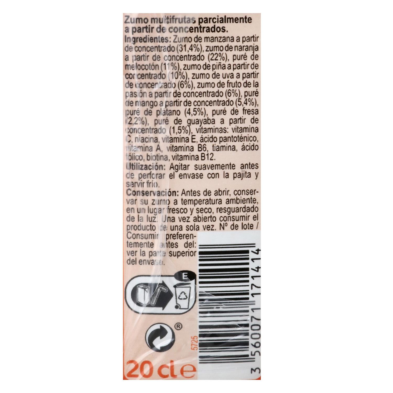 Zumo multifrutas Carrefour pack de 6 briks -