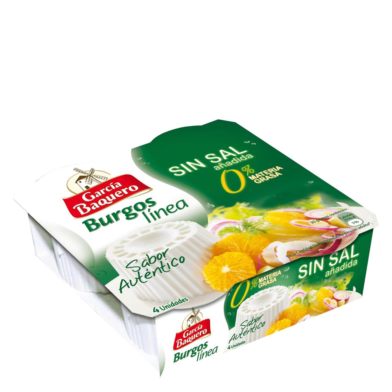 Queso Burgos línea sin sal 0% materia grasa García Baquero pack de 4 unidades de 60 g.