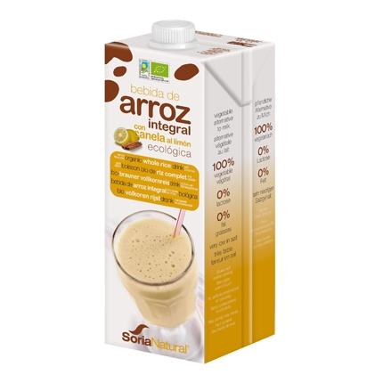 Bebida de arroz ecológica Soria Natural con canela al limón brik 1 l.