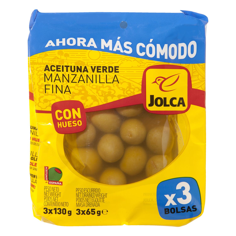 Aceitunas verdes manzanilla con hueso Jolca pack de 3 bolsas de 50 g.