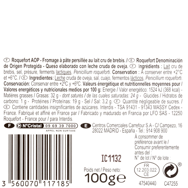 Queso azul roquefort Societé Carrefour cuña 100 g - 3
