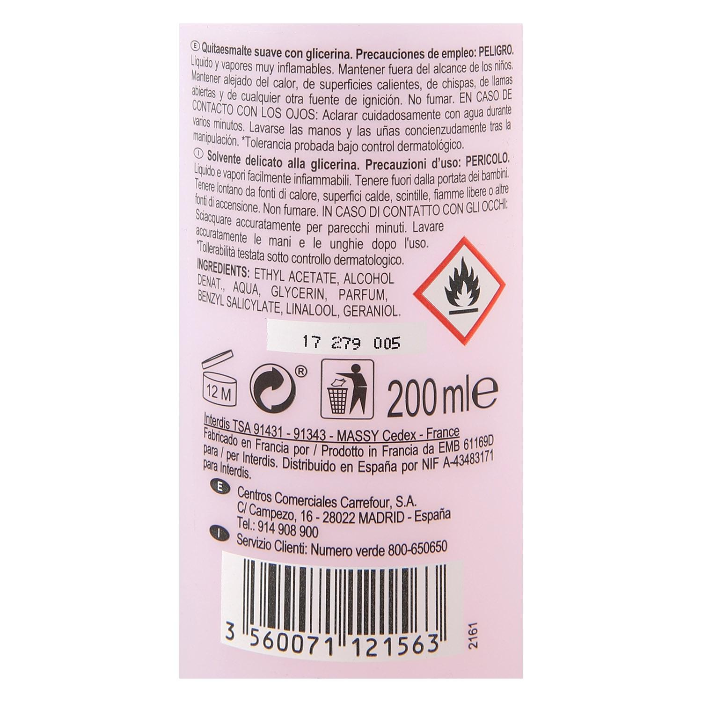 Quitaesmalte suave sin acetona Carrefour 200 ml. -