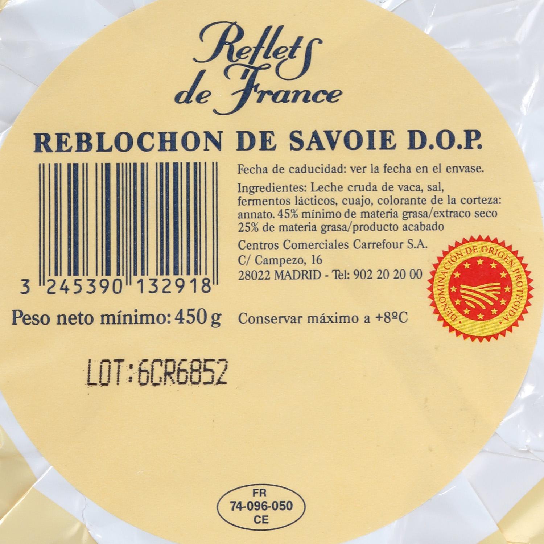 Queso reblochon de savoie A.O.P. leche cruda Reflets de France 400 g - 2