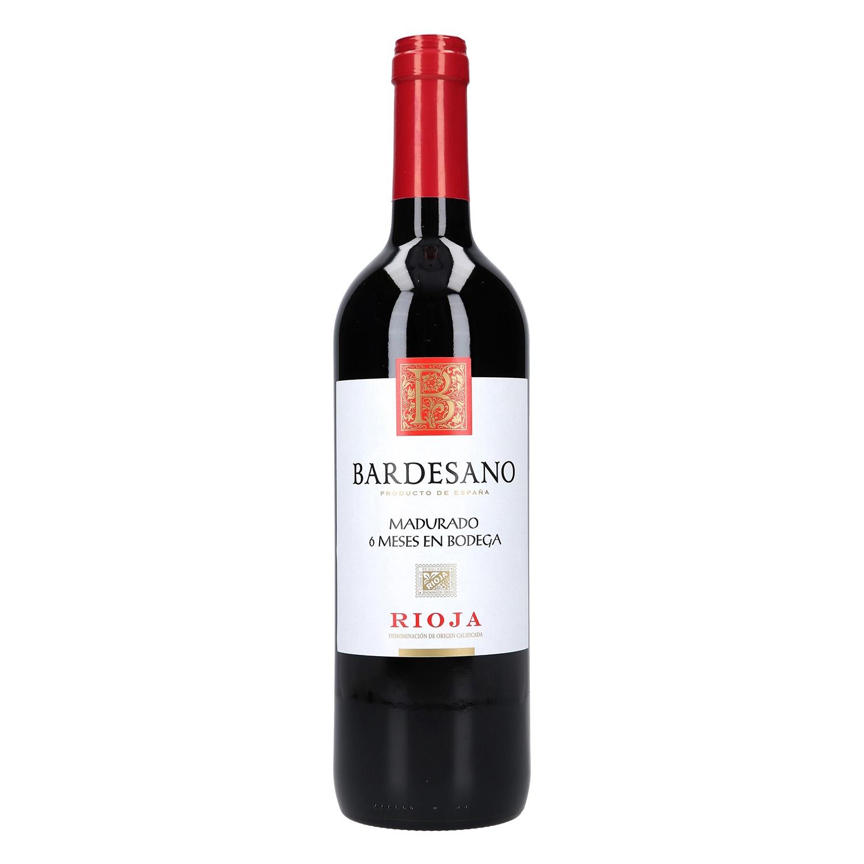 Vino D.O. Rioja tinto 6 meses en bodega Bardesano 75 cl.