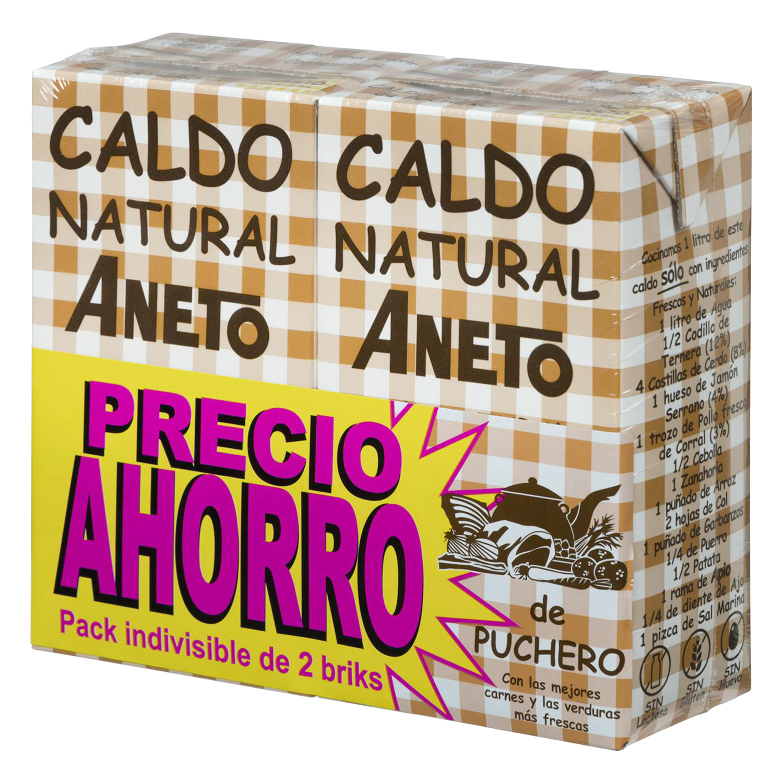 Caldo natural de puchero Aneto pack de 2 unidades de 1 l.