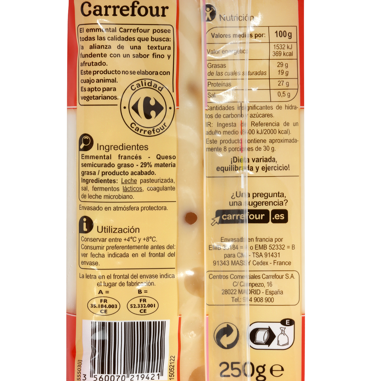 Queso emmental taco Carrefour 250 g - 2