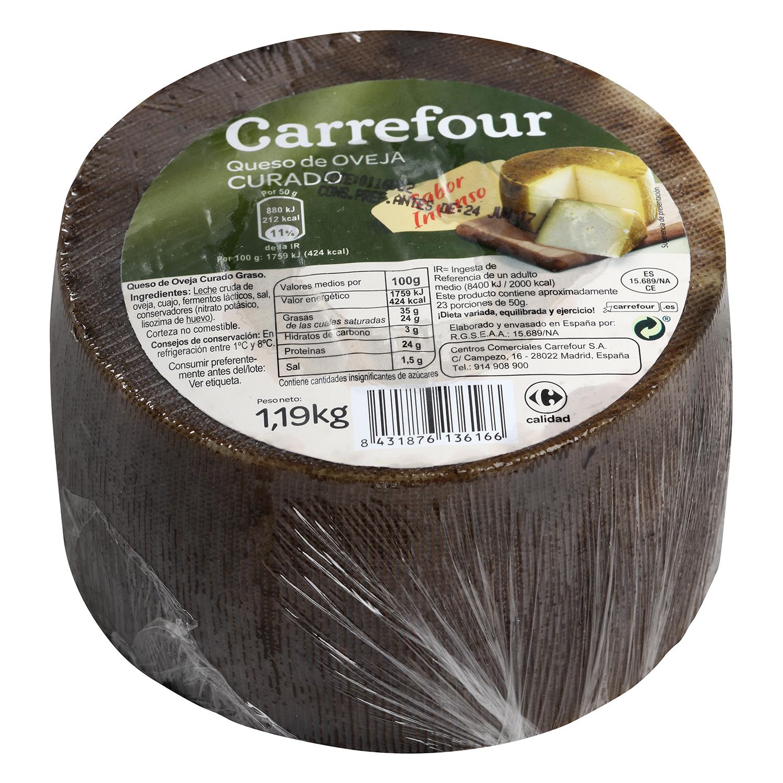 Queso curado puro de oveja mini Carrefour pieza de 1 Kg aprox -