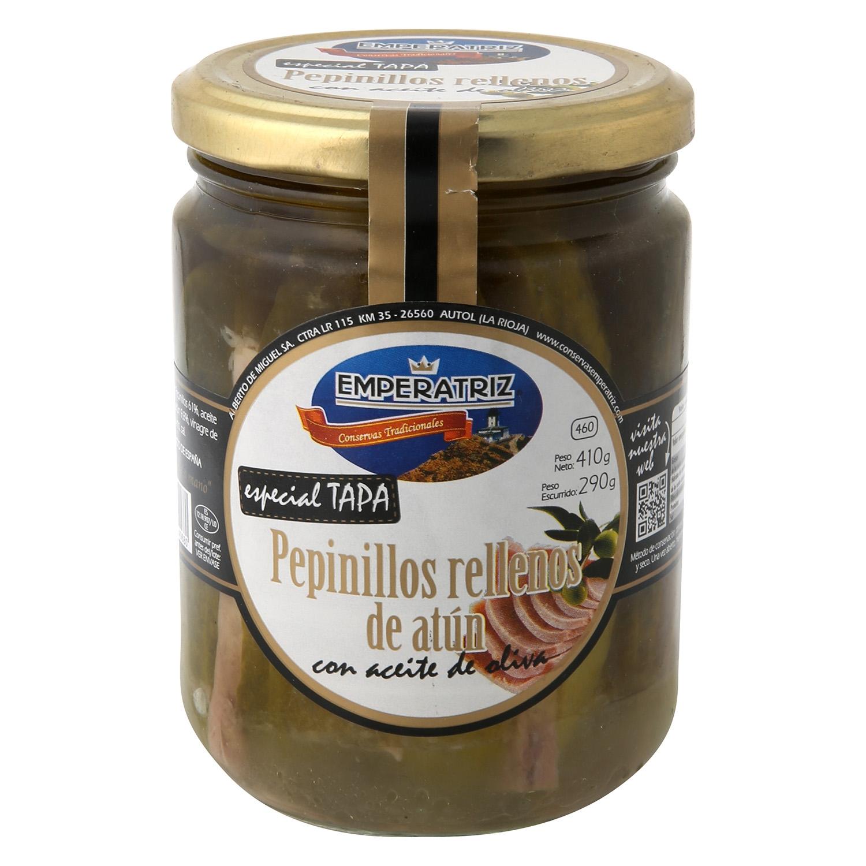 Pepinillos rellenos de aún con aceite de oliva Emperatriz 290 g.