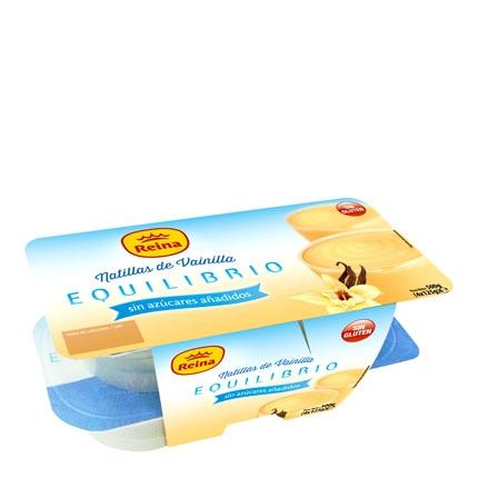 Natillas de vainilla Reina sin gluten pack de 4 unidades de 125 g.