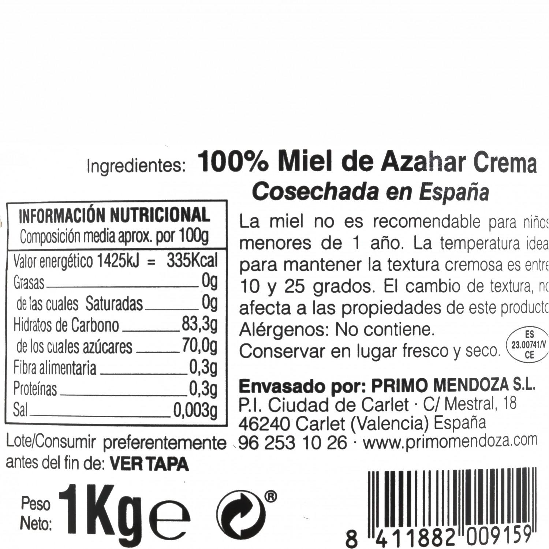 Crema de miel de azahar monfloral Primo Mendoza 1 Kg - 3