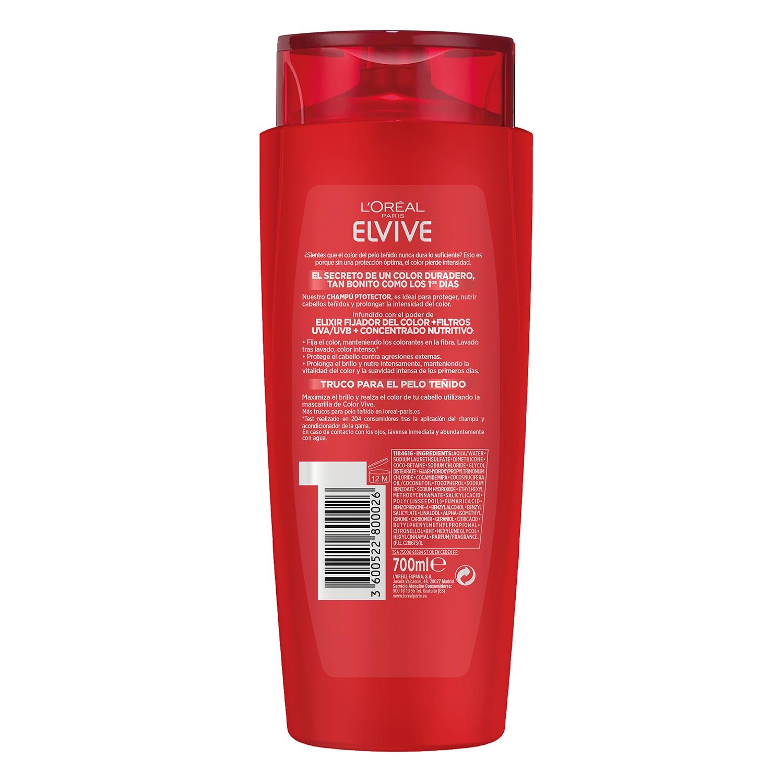 Champú protector color para cabello teñido L'Oréal-Elvive 700 ml. -