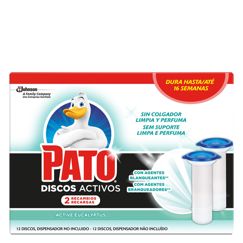 Discos activos inodoros con lejía aroma eucalipto recambio Pato 2 ud.