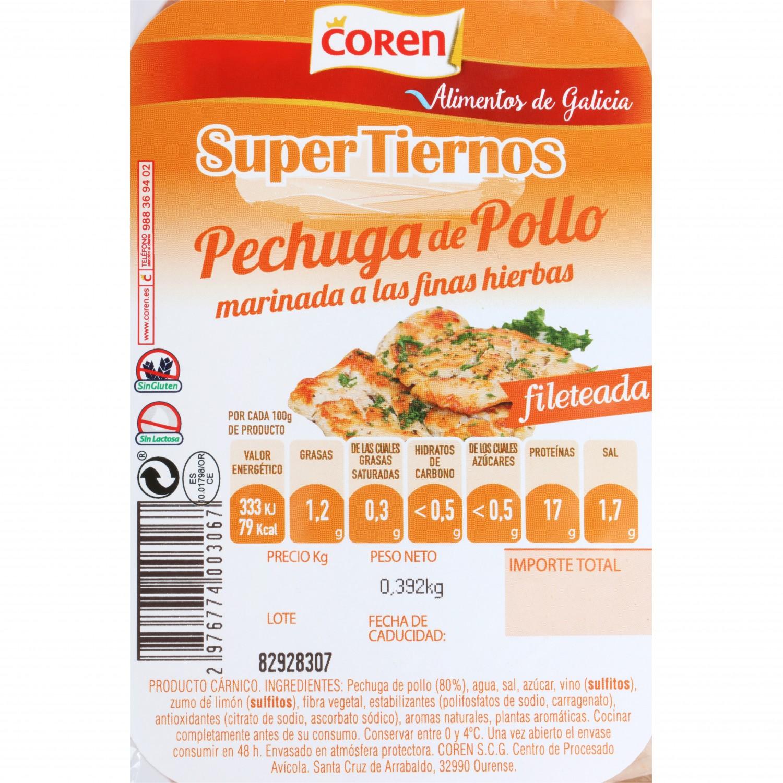 Pechuga de Pollo Marinada Fileteada Coren 400 g aprox - 3