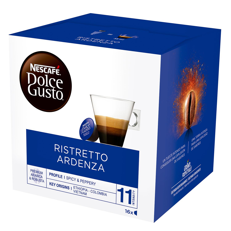 Café ristretto ardenza en cápsulas Nescafé Dolce Gusto 16 unidades de 7 g.