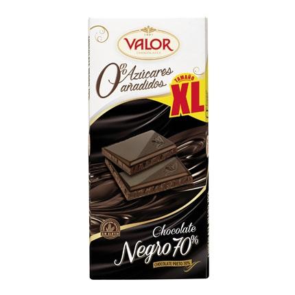 Chocolate negro 70% sin azúcar añadido Valor sin gluten 180 g.