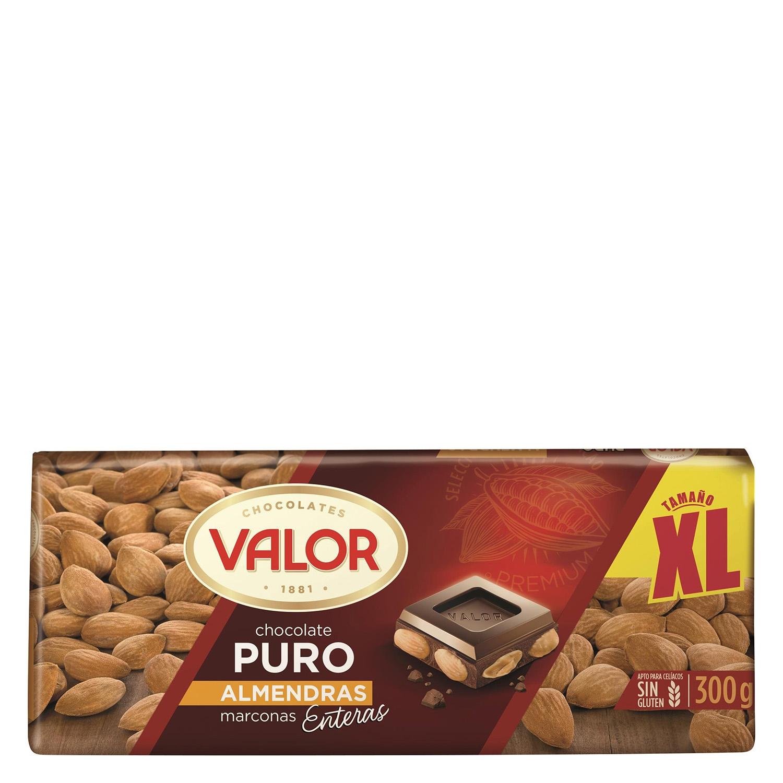 Chocolate puro con almendras Valor 300 g.