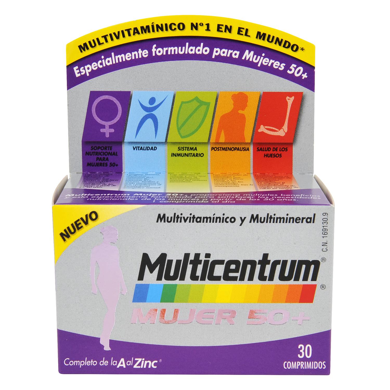 Multivitamínico y multimineral Mujer 50+ Multicentrum 30 comprimidos.