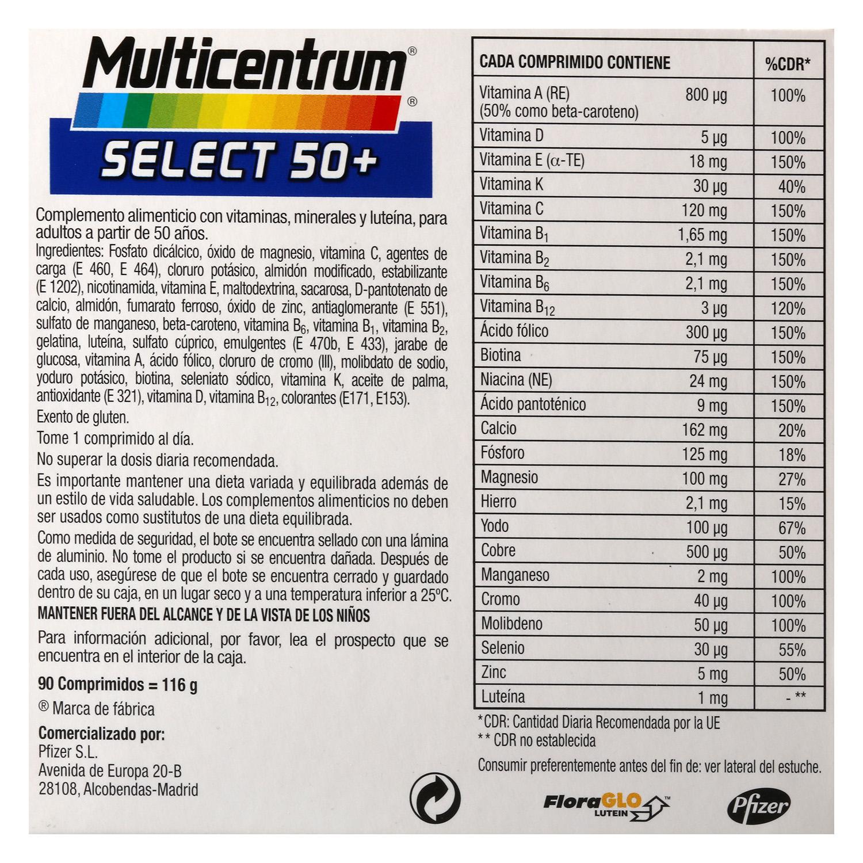 Complemento multivitamínico y multimineral Select 50+ Multicentrum 90 comprimidos. -