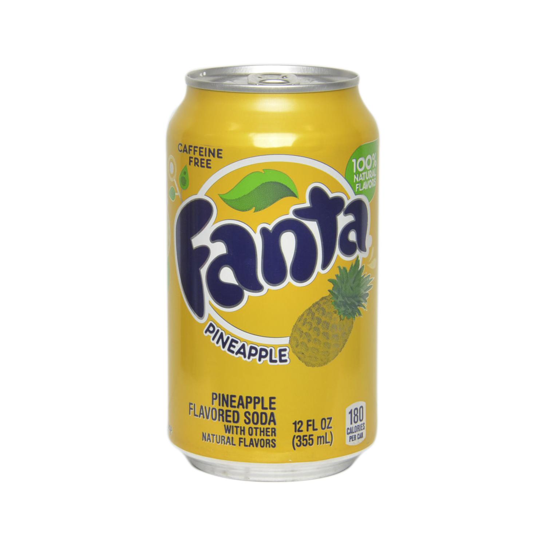 Refresco de piña Fanta con gas sin cafeína lata 35,5 cl.