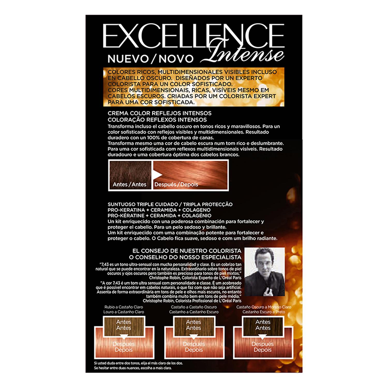Tinte intense nº 7.43 Rubio Cobrizo Dorado L'Oréal Excellence 1 ud. -
