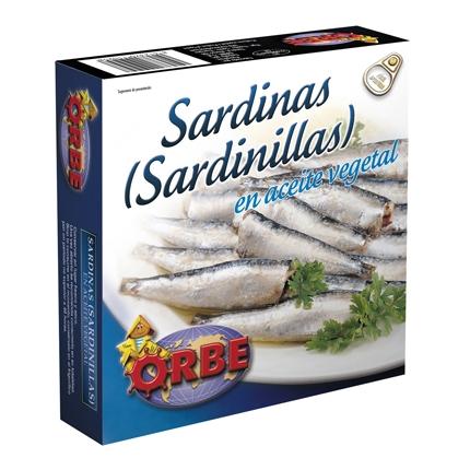 Sardinillas en aceite vegetal Orbe 160 g.