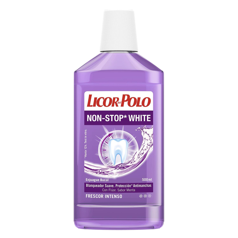 Enjuague bucal Non-Stop White con flúor Licor del Polo 500 ml.
