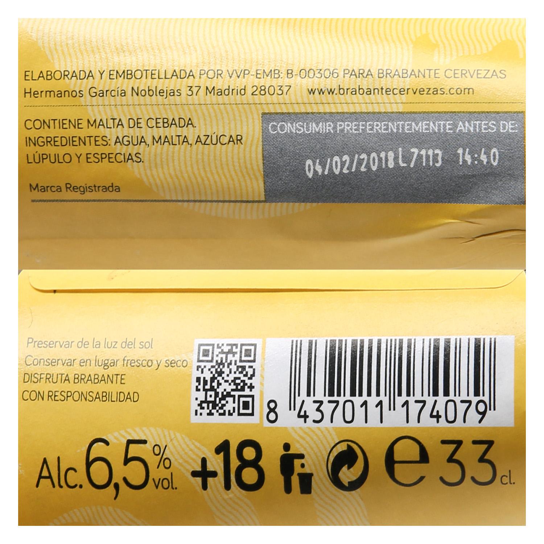 Cerveza Brabante Oro doble fermentación botella 33 cl. -