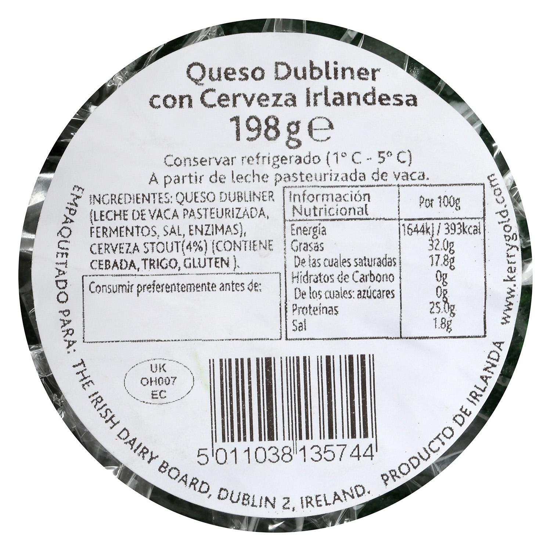 Queso cheddar blanco curado dubliner a la cerveza negra Kerrygold 200 g -