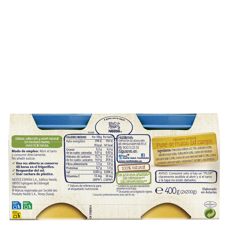 Tarrito de frutitas del campo Nestlé sin gluten pack de 2 unidades de 200 g. -