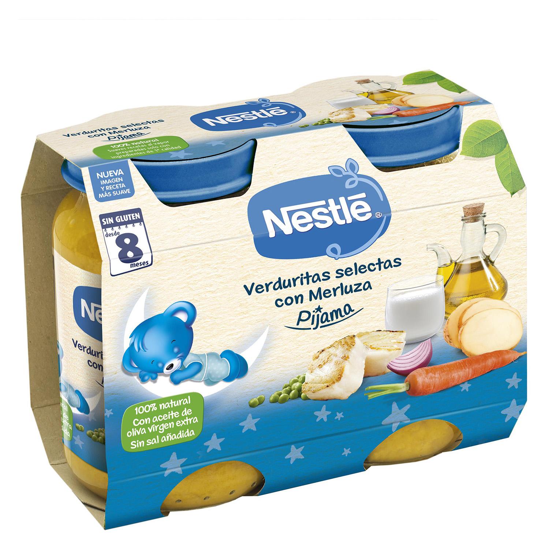 Tarrito Cena de verduritas selectas con merluza Nestlé sin gluten pack de 2 unidades de 200 g.
