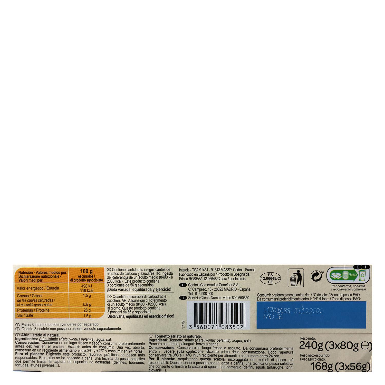 Atún al natural Carrefour pack de 3 unidades de 56 g. -