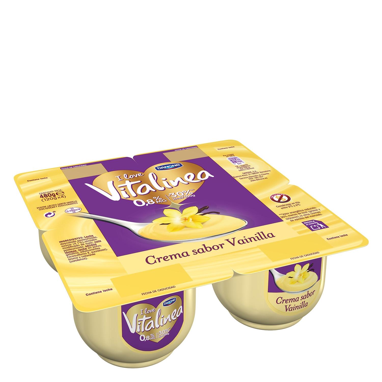 Crema de vainilla Danone Vitalinea sin gluten pack de 4 unidades de 120 g.